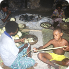 Preparing breadfruit biscuit – Motalava, Banks
